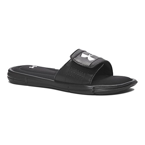 Under Armour Boys' Ignite V Slide Sandal, Black (001)/White, 1