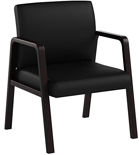 Lorell Guest Chair, Black/Espresso, 24 by 25-5/8 by 33-1/4-Inch