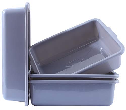 Bus Tubs 4-Pack, Commercial Plastic Bus Box/Tote Box, Wash Basin Tub/Storage Bin with Handles (8 L Capacity), - Food Storage Tubs