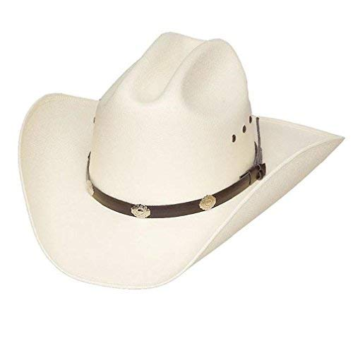 Classic Cattleman Straw Cowboy Hat with Silver Conchos and Elastic Band - White