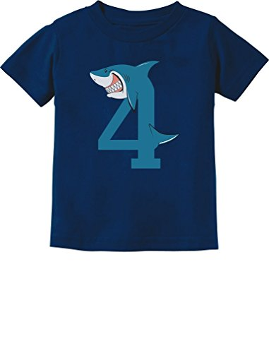 TeeStars - 4th Birthday Shark Party Gift for 4 Year Old Toddler Kids T-Shirt 4T (4th Birthday Party Ideas)