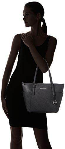 Michael Kors Jet Set Leather Trapeze Tote - Borse a mano Donna, Black, 12x26x35 cm (W x H L)