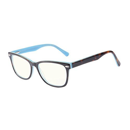 Kirka Classic Computer Gaming Reading Acetate Glasses without Magnification and Anti Blue Light Eyewear - Magnification Without Glasses