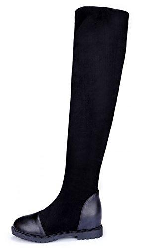 Idifu Vrouwen Dressy Gesplitste Faux Suede Rekbare Over De Knie Hoge Laarzen Rijlaarzen Lage Hakken Zwart