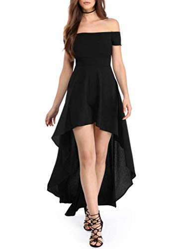 Sidefeel Women Off Shoulder High Low Maxi Party Dresses Large Black -