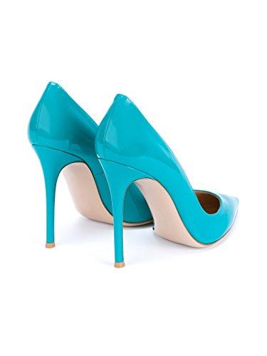 EDEFS Hauts Bout Escarpins PU Chaussures Talons Grande à PatentBlue Femme Cuir Pointu Taille Aiguille Vernis Fete Soiree rHrw4qY8