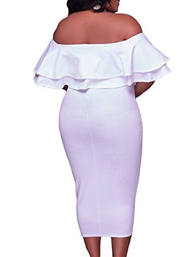 Gloria&Sarah Women's Off Shoulder Ruffle Floral Print Bodycon Plus Size Party Dress,White,3XL
