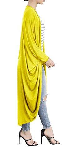 Maglia Autunno Cappotto Baggy Donna Giubotto Irregular Cappotti Pipistrello Giacca Manica Lunga Elegante Confortevole Hx Tempo A Libero Chic Ragazza Monocromo Giallo Fashion nAqYXxBZ