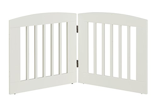 BarkWood Freestanding Wood Pet Gate – 2 Panel Expansion – Medium – 24″H – White Finish