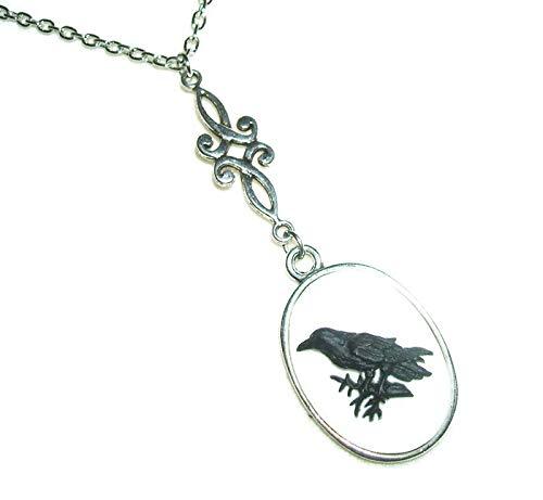 BLACK BIRD CAMEO Necklace RAVEN CROW Branch Pendant Silver Pltd (Line Cameo)