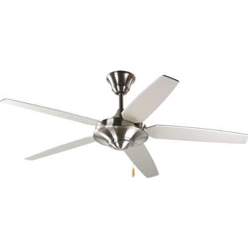 Progress Lighting P2530-09 54-Inch 5 Star Fan with Reversible Silver/Natural Cherry Blades, Brushed Nickel ()