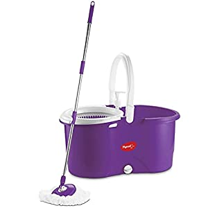 Pigeon Enjoy Spin Mop with 360 Degree Rotating PVC Magic Mop Set for Wet and Dry Floor/Wall (Lavender, 2 refills), large…