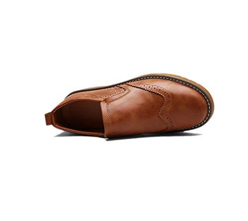 Sportivi Morbido Brown Business in Colore A Uomo Rotondo Pelle Punta Tela Scarpe in Sandali Stagione Casual Nastro Boots cwSFOqYpSf