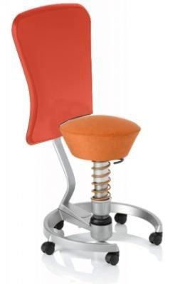 Aeris Swopper Classic - Bezug: Microfaser / Terracotta | Polsterung: Tempur | Fußring: Titan | Spezial-Rollen für Teppichböden | mit Lehne und rotem Microfaser-Lehnenbezug | Körpergewicht: MEDIUM