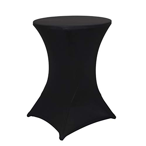 Obstal Cocktail Table Covers Stretch Spandex Black Cocktail Table Cover Cloth for Wedding, Banquet and Party (30x42 Inch, 1 Piece)