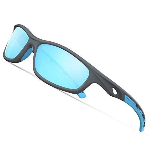 TOREGE Polarized Sports Sunglasses for Man Women Cycling Running Fishing Golf TR90 Unbreakable Frame TR08 (Matte Grey&Blue&Blue Lens) (Polarized Sports Sunglasses With Tr90 Unbreakable Frame)