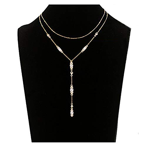 Seni Jewelry Double Layers Y Shape Crystal Choker Necklace for Women Rhinestone Linear Bar Pendant Necklace (Gold)