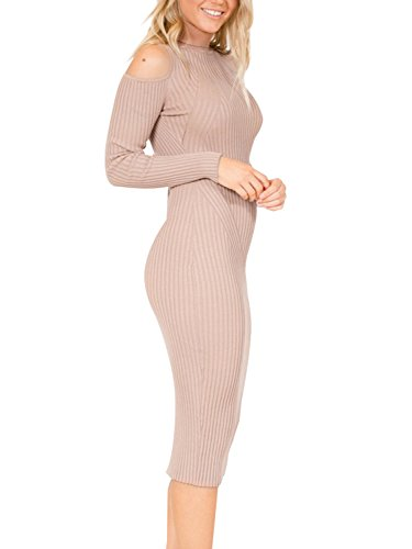 Women's Cold Simplee Shoulder Apparel Nude Dress Bodycon Sweater Dress Midi 4UwqOHw