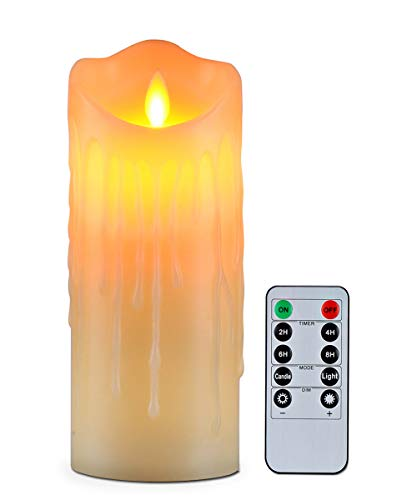 Flameless Candles with 10 Key Remote Timer Flickering Tear Wave Shaped Tealight Real Wax Simulate Dripping Led Candles Battery Operated Safe For Indoor Outdoor Decor 3 x 7.9 Inch