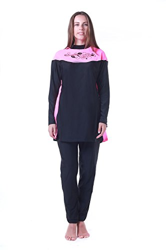 163a36065e Women Muslim Swimwear Full Coverage Islamic Modest Swimsuit 3 Pieces Full  Body with Hijab Sun Protection - SooqZone