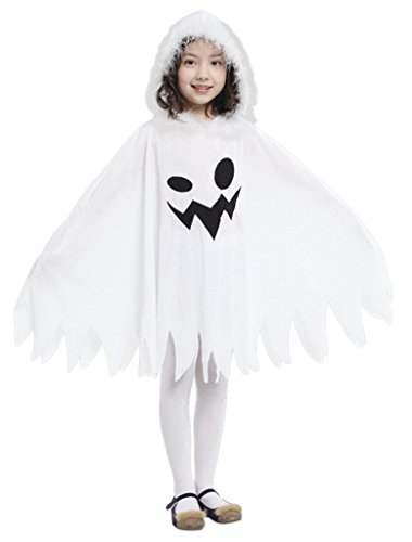 La Vogue Halloween Ghost Fancy Dress Costume Evil Spirit Hooded Cloak White 4-6Y