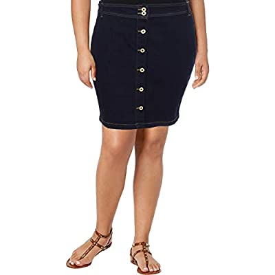 Tommy Hilfiger Womens Button Front Dark Wash Denim Skirt