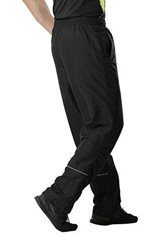 MIER Mens Sports Pants Warm Up Pants with Pockets for Workout, Gym, Running, Black