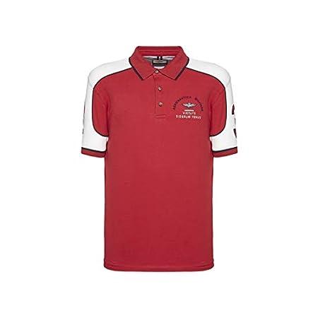 Aeronautica Militare Polo PO1443P Blanc Rouge Piqué Homme Chemise T-Shirt 13