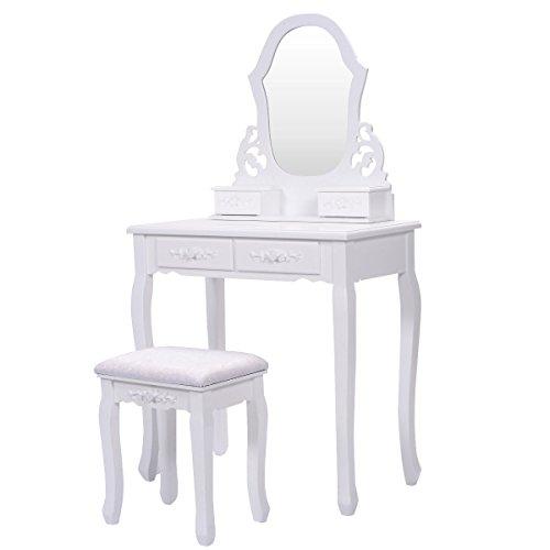 Giantex Vanity Wood Makeup Dressing Table Stool Set Bedroom with Mirror (Sector Mirror, 4 Drawers) (Mirror Bedroom Sets)