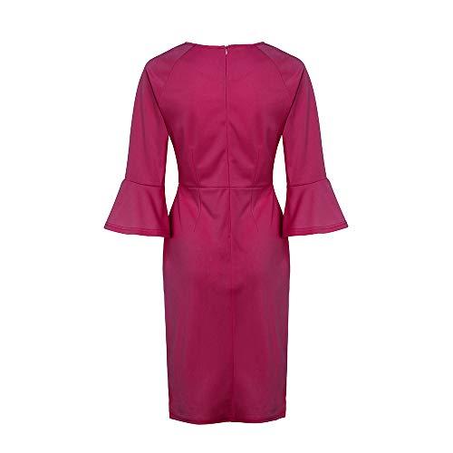 slim da scollo Work a s donna manica alta tinta vita e con Jutoo Dress xxl V Rosso lunga Wind unita qSwAwaFp