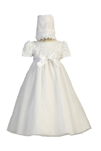 Long White Embroidered Satin Ribbon Tulle Bodice with Tulle Skirt Baby Girl Christening Baptism Special Occasion Newborn Dress Gown with Matching Hat - M (6-12 Month, 13-17 lbs)