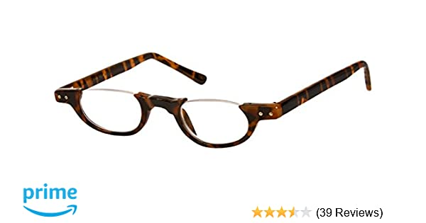 fbbb57ef4336 Amazon.com  The Hunter Colorful Retro Half Under Frame Rimless Round  Vintage Reading Glasses +3.00 Brown Tortoise (Carrying Case Included)   Health ...