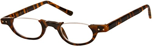 The Hunter Colorful Retro Half Under Frame Rimless Round Vintage Reading Glasses +1.00 Brown Tortoise (Carrying Case - Tortoise Glasses Shell Rim Half