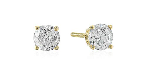 AGS Certified .60 (5/8) Cttw Brilliant-Cut Diamond Classic 4-Prong Screw Back Stud Earrings (Color J-K, Clarity I2), 14K Yellow Gold (Best Color Clarity For A Diamond)