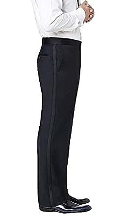 Neil Allyn Men's Flat Front Satin Stripe Tuxedo Pants, 28