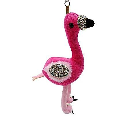 Llavero de flamenco con bolas de peluche de estrás para ...