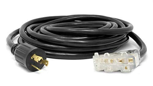 WEN PC2525-3 25 ft. 30-Amp 10-Gauge SJTW Fan-Style 10/3 Generator Extension Cord (converts L5-30R to three 5-20R outlets)