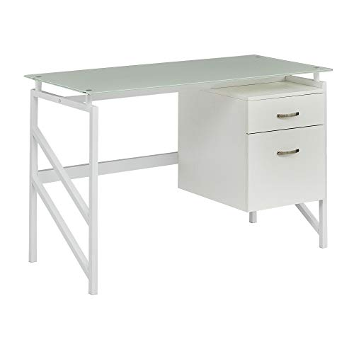 (Mayline 1006WW SOHO Glass Top Desk with 2 Drawer File, Textured White Laminate)