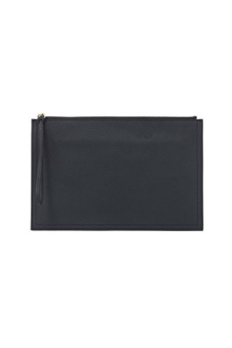 Montte Di Jinne - Women's Large Envelope clutch Wristlet Purse in Grainy Soft Leather Navy