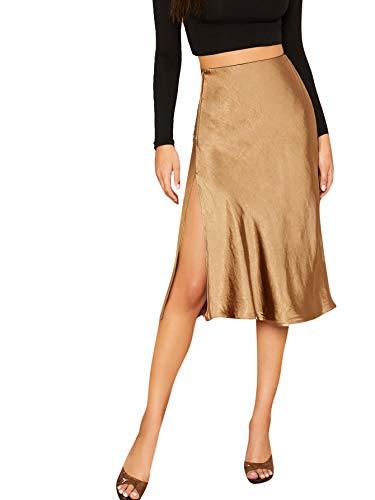 SheIn Women's Party Sexy Satin Split Side Basic Zipper High Waist Midi Skirt Large Goldish Brown