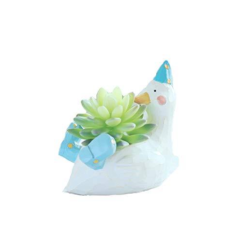 Youfui Cute Duck Shaped Cartoon Home Decoration Succulent Vase Flower Pots Duck