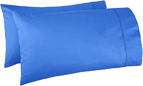 "MeiCotton Bedding Standard Pillowcases 2 Pack - 250 Thread Count Luxury Hotel Quality - Silky Soft & Durable Pillowcases Queen Size 20"" x 30"" - Royal Blue"