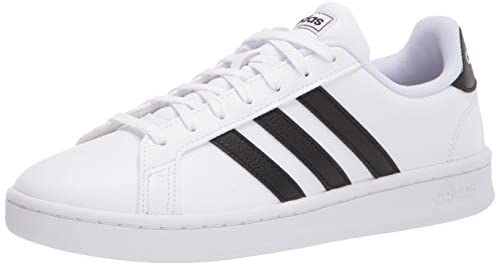 adidas womens Grand Court Sneaker, White/Black/White, 7.5 US