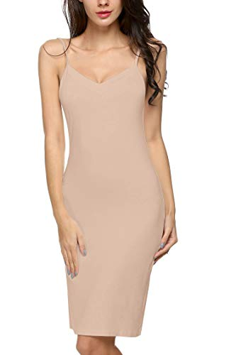 Avidlove Women Full Slips Cotton Blend V Neck Straight Dress Nightwear Skincolor (FBA) XL