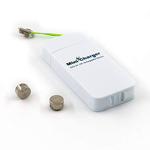 Hearing Aid Size 13 Battery Charger with Rechargeable Batteries, One Mini USB Charger and Two Size 13 NI-MH P13 Hearing Aid Batteries - Neosonic ()