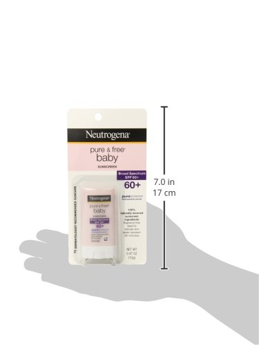 Neutrogena Pure & Free Baby Mineral Sunscreen Stick with Broad Spectrum SPF 60 & Zinc Oxide, Water-Resistant, Hypoallergenic, Oil- & PABA-Free Baby Sunscreen, 0.47 oz (Pack of 3)