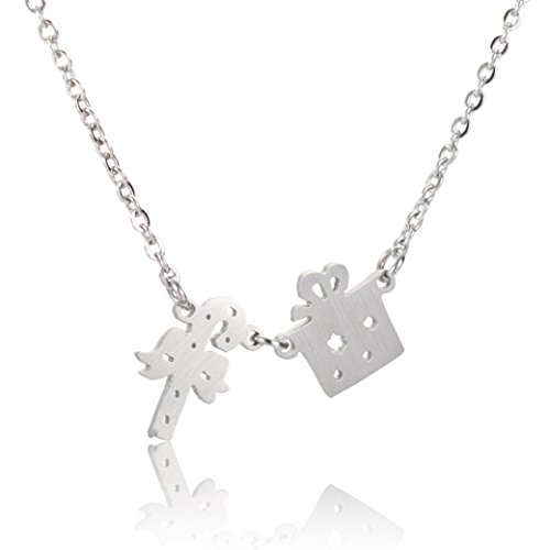 HUAN XUN Christmas Jewelry Box and Crutch Gift Charm Pendant Necklace Silver