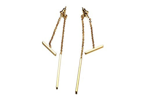 118 Costume 80s (Stainless Steel Gold Plated Sideway Bar& Vertical Bar Drop Tassel Unique Earrings for Women Girl)