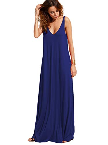 Verdusa Women's Casual Sleeveless Deep V Neck Knitted Shift Sexy Maxi Long Dress Navy S 3 Piece Nurse Outfit