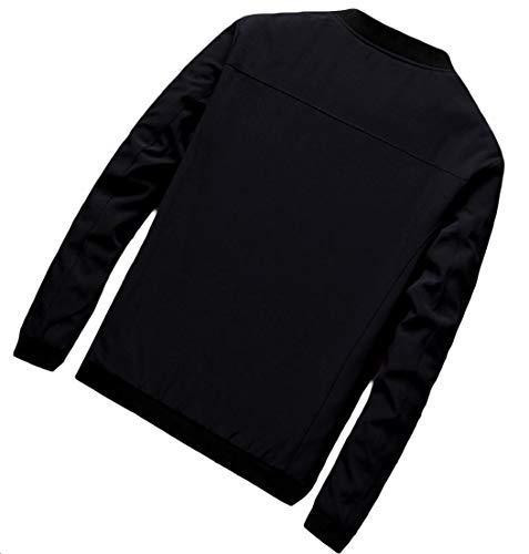 Stand Pocket Size Long Sleeve Men's Black Coat Plus Zip AngelSpace Collar Jacket Warm HxaOF0